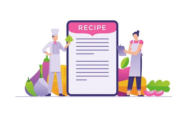 Chef-kok ontmoet thuis koken in apps concept media, recept online apps voor thuis