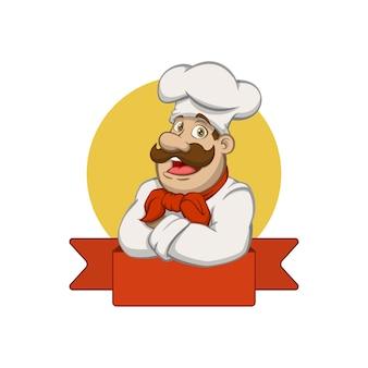 Chef-kok opvouwbare armen mascotte logo