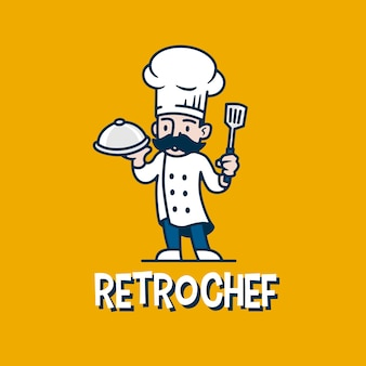 Chef-kok retro mascotte cartoon logo