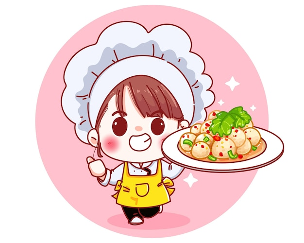 Chef-kok schattig met pittige gehaktbal salade chili cartoon afbeelding