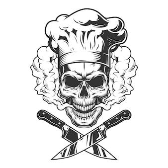 Chef-kok schedel in rookwolk