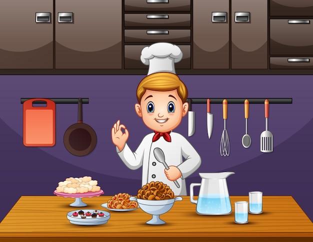 Chef-kok smaakt eten en klaar om te serveren