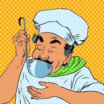 Chef-kok smaakt voedselkeuken