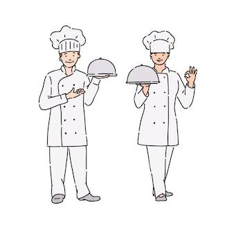 Chef-kok vrouw en man in professionele uniform met schotel in de hand. illustratie in lijn kunststijl op wit