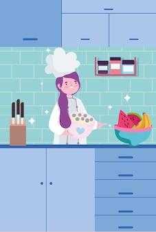 Chef-kok vrouw koken van een cake