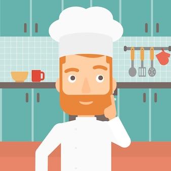 Chef-kok wijsvinger naar boven.