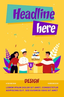 Chef-kok winnende dessertwedstrijd illustratie