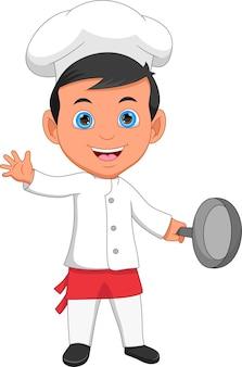 Chef-kok zwaait en houdt een koekenpan vast