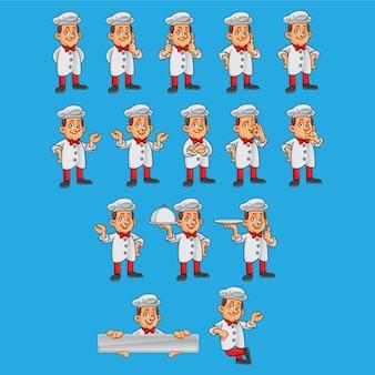 Chef-kokkarakters in verschillende poses