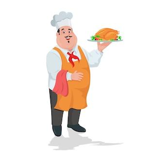 Chef-kokkok met geroosterde kip op plaat