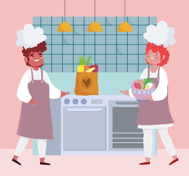 Chef-koks die kruidenierswinkelvoedsel bereiden