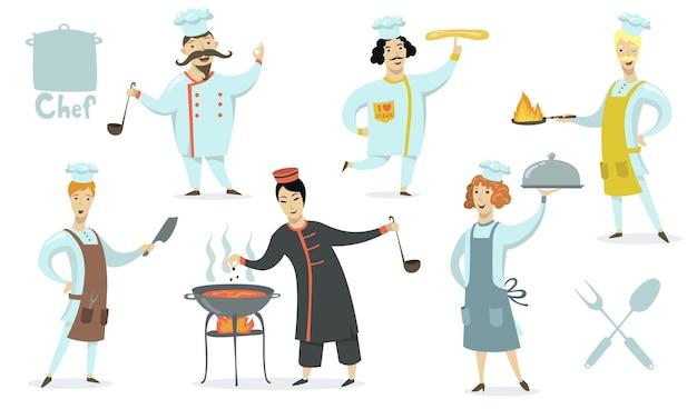 Chef-koks die schorten en de hoedenset van fornuizen dragen. professionals die restaurantmaaltijden koken. vectorillustratie voor eten, culinair, keuken, baan, traditionele keukenconcept