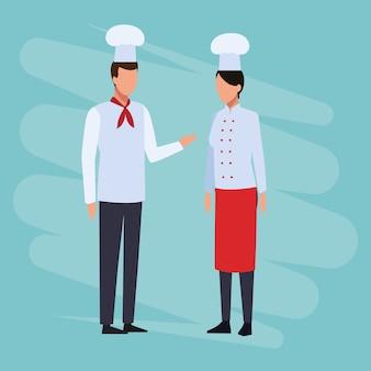 Chef-koks en werknemers
