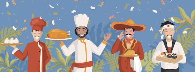 Chef-koks in nationale kleding vector vlakke afbeelding chinese indische mexican
