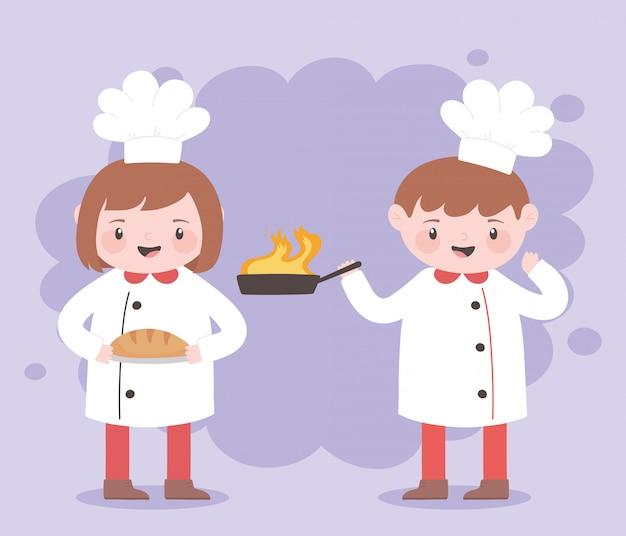Chef-koks jongen en meisje stripfiguur met gebakken pan en brood
