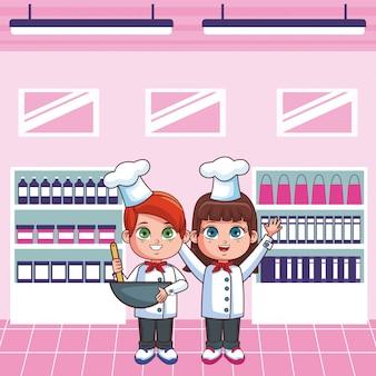 Chef-koks kinderen cartoon