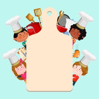 Chef-koks kinderen kooklessen sjabloon illustratie.
