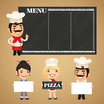 Chef-koks presenteren lege banners
