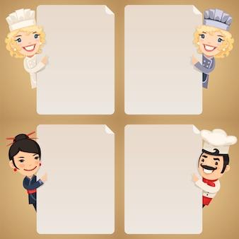 Chef-koks stripfiguren kijken naar lege poster set