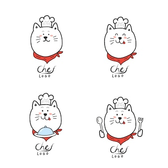 Chef-logo.cartoon hand draw.cute kat mascotte