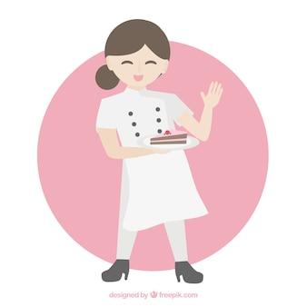 Chef-meid karakter met een taart