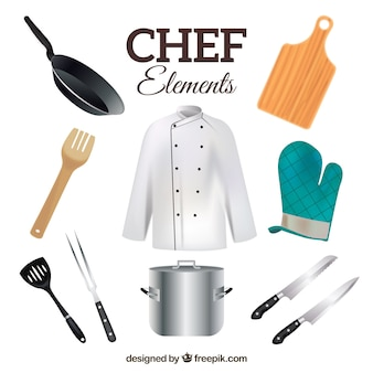 Chef-uniform met realistische keukenvoorwerpen