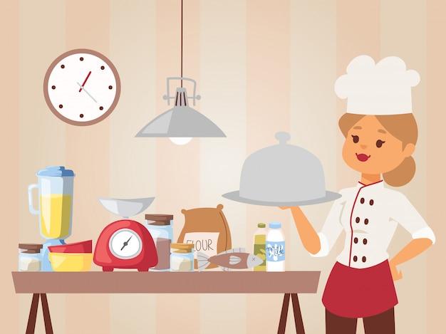 Chef van de vrouw leert kookles meisje in uniform koken met een schotel met gekookte maaltijd