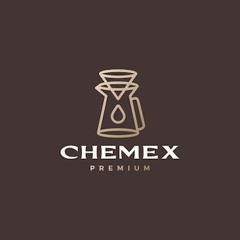 Chemex koffie druppelaar papier filter logo vector pictogram illustratie