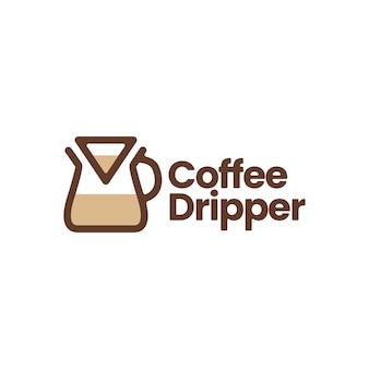 Chemex koffie druppelaar papier filter logo vector pictogram illustratie Premium Vector