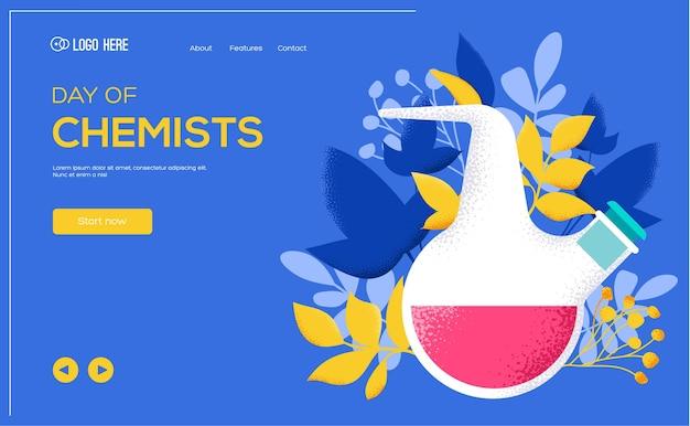 Chemici kolf, dag van chemici websjabloon.