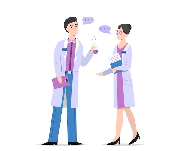 Chemici of wetenschappers praten illustratie