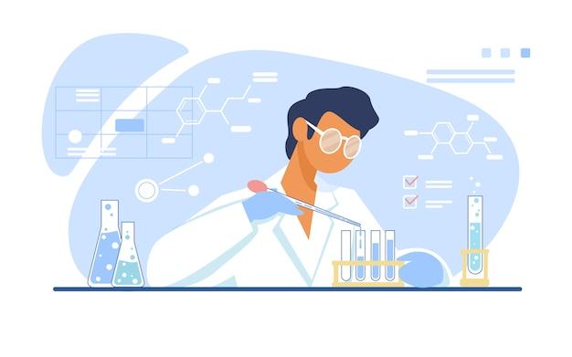Chemicus die in laboratorium werkt