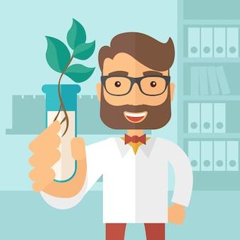 Chemicus met buis en ecobladeren.