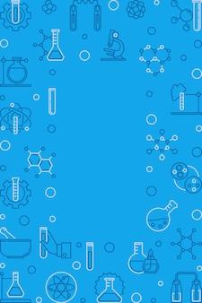 Chemie blauw verticaal kader. chemische vector achtergrond