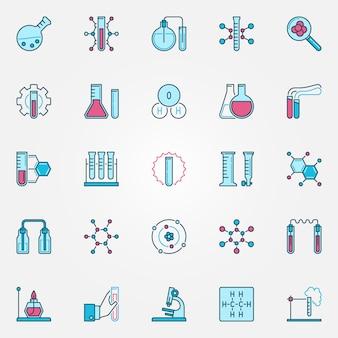 Chemie creatieve pictogrammen instellen. chemische wetenschap concept vector gekleurde tekens of symbolen
