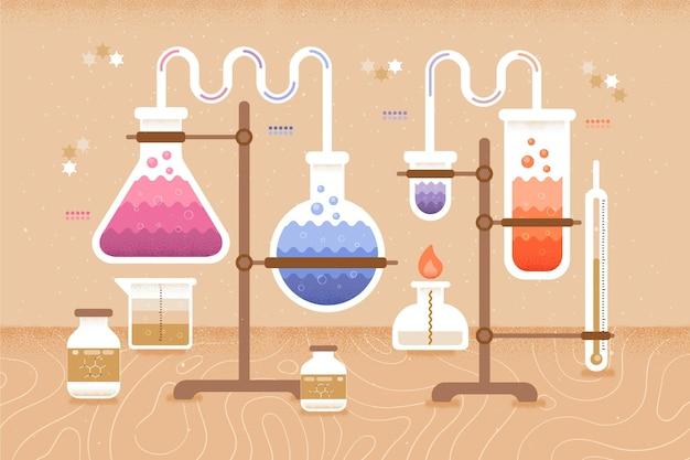 Chemie-elementen terug naar schoolconcept