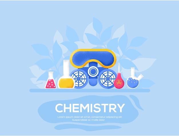 Chemie-flyer, tijdschriften, poster, boekomslag, banners. korrelstructuur en ruiseffect.