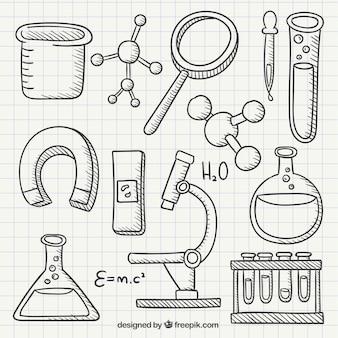 Chemie hand getekende pictogrammen