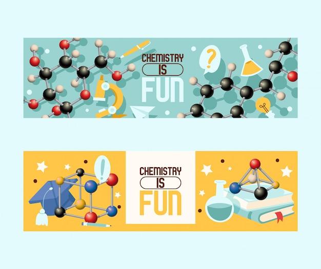 Chemie is leuke set ofs. laboratoriumapparatuur zoals microscoop, fles met vloeistof, molecuulvormen.
