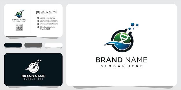 Chemie lab logo ontwerp inspiratie met visitekaartje