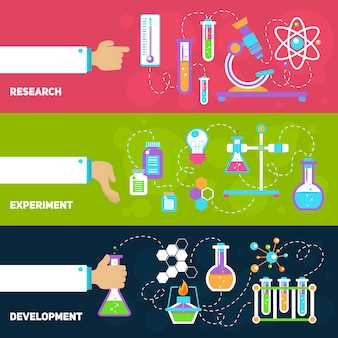 Chemie ontwerp banners met elementen samenstelling