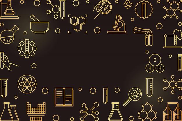 Chemie overzicht gouden frame. vector lijn illustratie