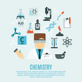 Chemie platte pictogrammenset