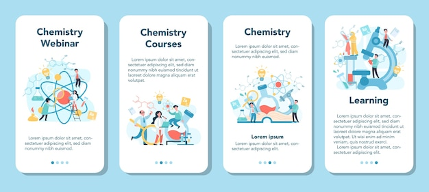 Chemie studeren op webinar of cursus banner set voor mobiele applicaties. wetenschappelijk experiment in het laboratorium. wetenschappelijke apparatuur, chemisch onderwijs.