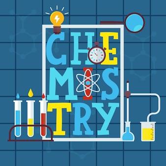 Chemie typografisch met wetenschapselementen