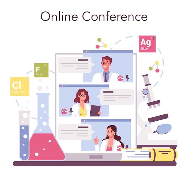 Chemie wetenschap online service of platform set. wetenschappelijk experiment in het laboratorium. chemisch onderzoek. online forum, conferentie. geïsoleerde vectorillustratie