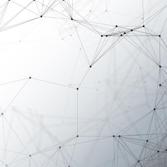 Chemiepatroon, verbindende lijnen en punten, moleculestructuur op grijs, wetenschappelijk medisch dna-onderzoek