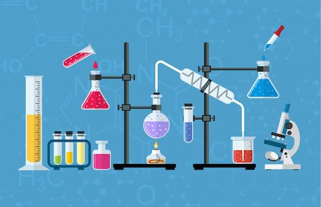 Chemisch glaswerk, laboratorium.
