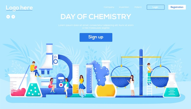 Chemisch laboratorium concept flyer, webbanner, ui-header, site invoeren. mensen karakter met items rond laboratorium. korrelstructuur en ruiseffect.