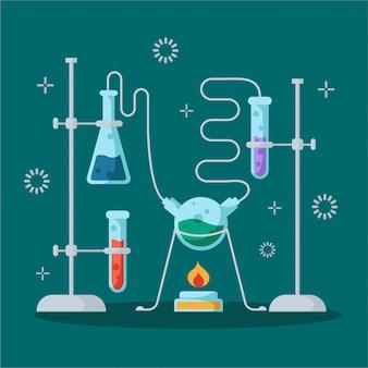 Chemisch laboratorium en apparatuur voor het experiment. wetenschap en onderwijs concept. glazen kolven en reageerbuizen